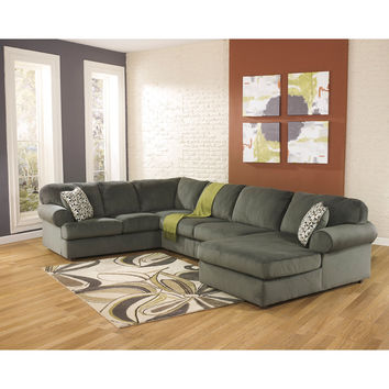 Jessa Place Sectional in Pewter Fabric