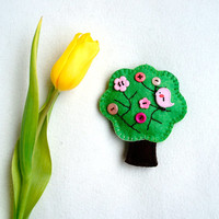Spring tree felt ornament with pink button flower and bird, Easter, spring decor, handmade, Housewarming home decor