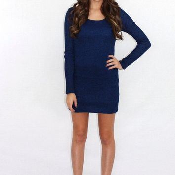 Ride the Wave Blue Sweater Dress