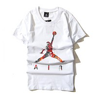 Jordan New fashion people print couple top t-shirt White