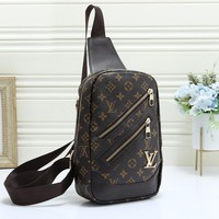 LV Louis Vuitton Fashion new casual pu leather Messenger bag backpack chest bag