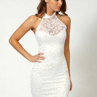 Halter Floral Lace Bodycon Mini Dress