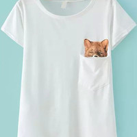 White Fox Print with Pocket T-Shirt