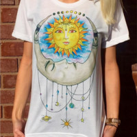 Fashion Personality Multicolor Universe Love Print Round Neck Short Sleeve Casual T-shirt Tops