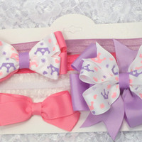 Princess collection of 3 princess print hair bows wear alone or on one of the three headbands