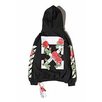 Men's OFF-WHITE Fashion Sweatshirt Hooded Rose Hoodie