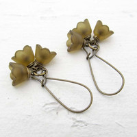 Olive green flower earrings bridesmaid earrings