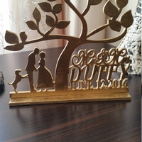 Rustic Wedding Cake Topper, Personalized Wedding Cake Topper, silhouette cake topper, custom cake topper, monogram cake topper, Tree of life