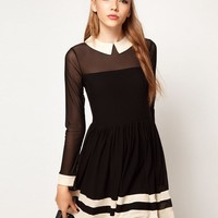 2013 New comes The UK Style Peter Pan Collar A line Mini Casual Dress for women Black color