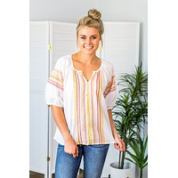 Embroidered Accent Top- White