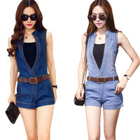 Brand new 2016 Korean Version High-end Jeans Denim Pants Sexy Women Trendy Deep V-Neck Short Rompers for Women jumpsuits