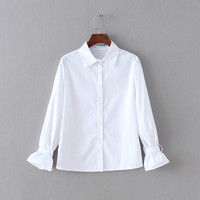 White Flare Sleeve Collar Blouse
