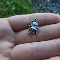 8 Cute small octopus charms silver tone ~ F236