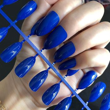 Sweet Candy Stiletto Shine Sapphire Blue Color Medium Long Water Drop Shape Artificial False Fake Nails Full Wrapped Tips Flat