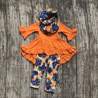 baby Girls Fall and Winter 3 pieces with scarf clothes girls children orange dress top with floral milk silk floral pant sets