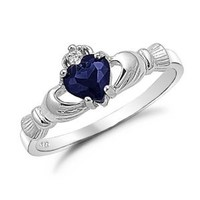 Kriskate & Co. Irish Claddagh Ring .925 Sterling Silver with Simulated Blue Sapphire Heart Promise Ring Size 7