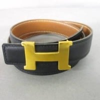 Auth HERMES H Belt Square A Black Gold Leather & Metallic Material Belt