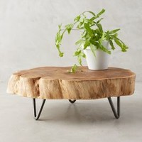 Footed Wood Slab Tray by Anthropologie in Natural Size: One Size Decor