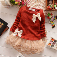 2015 Kids Baby Girls Knit Tops Lace Bowknot Princess Party Tutu Tulle Dress 0-3Y