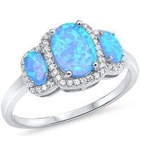 3 Oval Cut Blue Lab Opals with Clear Cubic Zirconia Halo in Sterling Silver Band