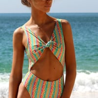Vibrant Stripe Reversible Cutout Swimsuit