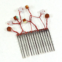 Pearl and Brown Square Crystal Bead and Wire Hair Comb - Bridesmaids Accessories - Cyber Monday Sale