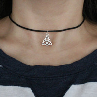 Leather Triquetra Choker with Antique Silver Charm.