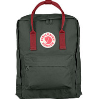Fjallraven Classic Kanken Backpack Bag - Forest Green and Ox Red