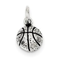 Antiqued Basketball Charm in Sterling Silver
