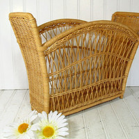 Vintage Natural Wicker Magazine Rack - Retro Hand Woven Flower Basket - Shabby Chic Carry All