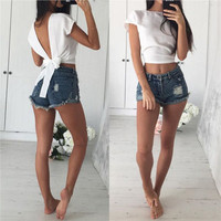 SIMPLE - Summer Backless Bowknot Sexy Crop Top a12786