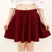 2016 Spring Summer Women Fashion Mini Skirts Candy Color Short Skirt Elastica Sun Pleated Skirt plus size femalemini skirt 5XL