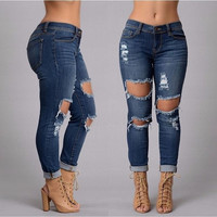 New Style Fashion Jeans Full Length Mid-waist Pencil Pants Zipper Fly Skinny Causal  = 5709406913