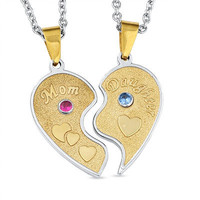 Personalized Mom and Daughter Heart Pendants in Stainless Steel 2 Stones P811