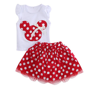 Minnie Mouse Cotton Party Dress Dots Mini Girl Clothes Summer Dresses Children Cute Kids Baby Girls Clothes Minions 1 2 2 4Year
