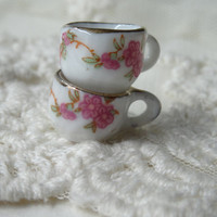 Pink Floral Hand Painted Ceramic Tea Party Cup Charms