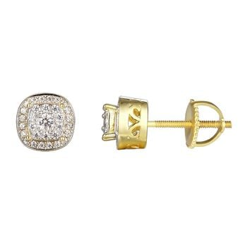 14k Gold Finish Solitaire Silver  Screw Back Earrings