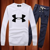 Under Armour Woman Men Long Sleeve Shirt Top Tee Pants Trousers Set Two-Piece Sportswear