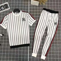 NY Summer Fashionable Men Casual Stripe Top Tee Pants Set Two-Piece White