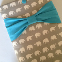 """Macbook Air 11 Sleeve MAC Macbook Air 11"""" inch Laptop Computer Cover Case Grey Elephants with Teal Bow"""