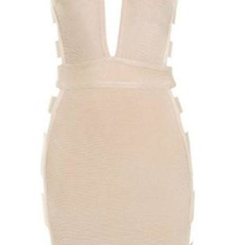 'Kareema' Cut-Out Bandage Dress - Nude