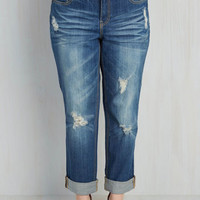 Easygoing Expression Jeans in Distressed Dark Wash - 14-22