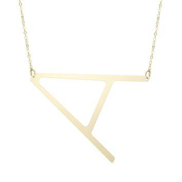 """14k Yellow Gold Initial Letter Pendant Necklace, 18"""""""
