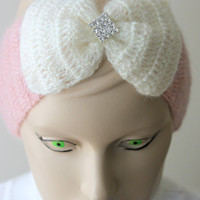 Crocheted Pink Headband With Cream Big Bow and Crystal Button/ Women Accessories /Ear Warmer / Ready to Shipping / Turban/ 2013 Trends