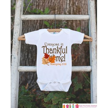 Thankful For Me Thanksgiving Shirt - Thanksgiving Onepiece or Tshirt - 1st Thanksgiving Outfit for Baby Boy or Girl - First Thanksgiving