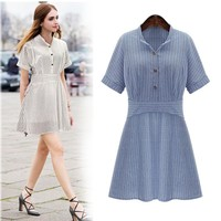 Large size women 2017 summer was thin striped short sleeves [16057335834]