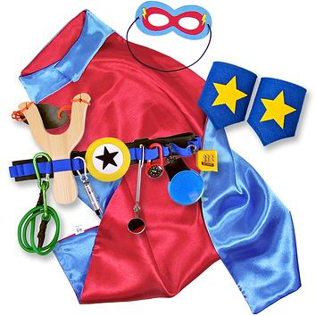 Kids Superhero Cape with Childrens Cuffs and Utility Tool Belt with Slingshot and Accessories