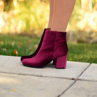 Wait For Me Booties- Burgundy