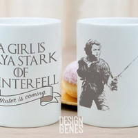 A girl is Arya Stark of Winterfell Game of Thrones mug