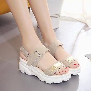 Metallic Wedge Platform Sandals